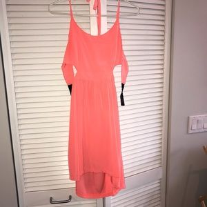 Coral pink BB Dakota halter cut out dress